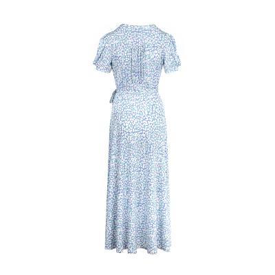 puff sleeve wrap long dress